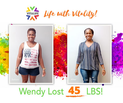 Weight Loss Success at VitaLife Down 45 Pounds